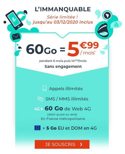 Forfait mensuel Cdiscount Mobile - appels/SMS/MMS illimités + 60 Go de DATA + 5 Go en EU/DOM - pendant 6 mois (sans engagement)
