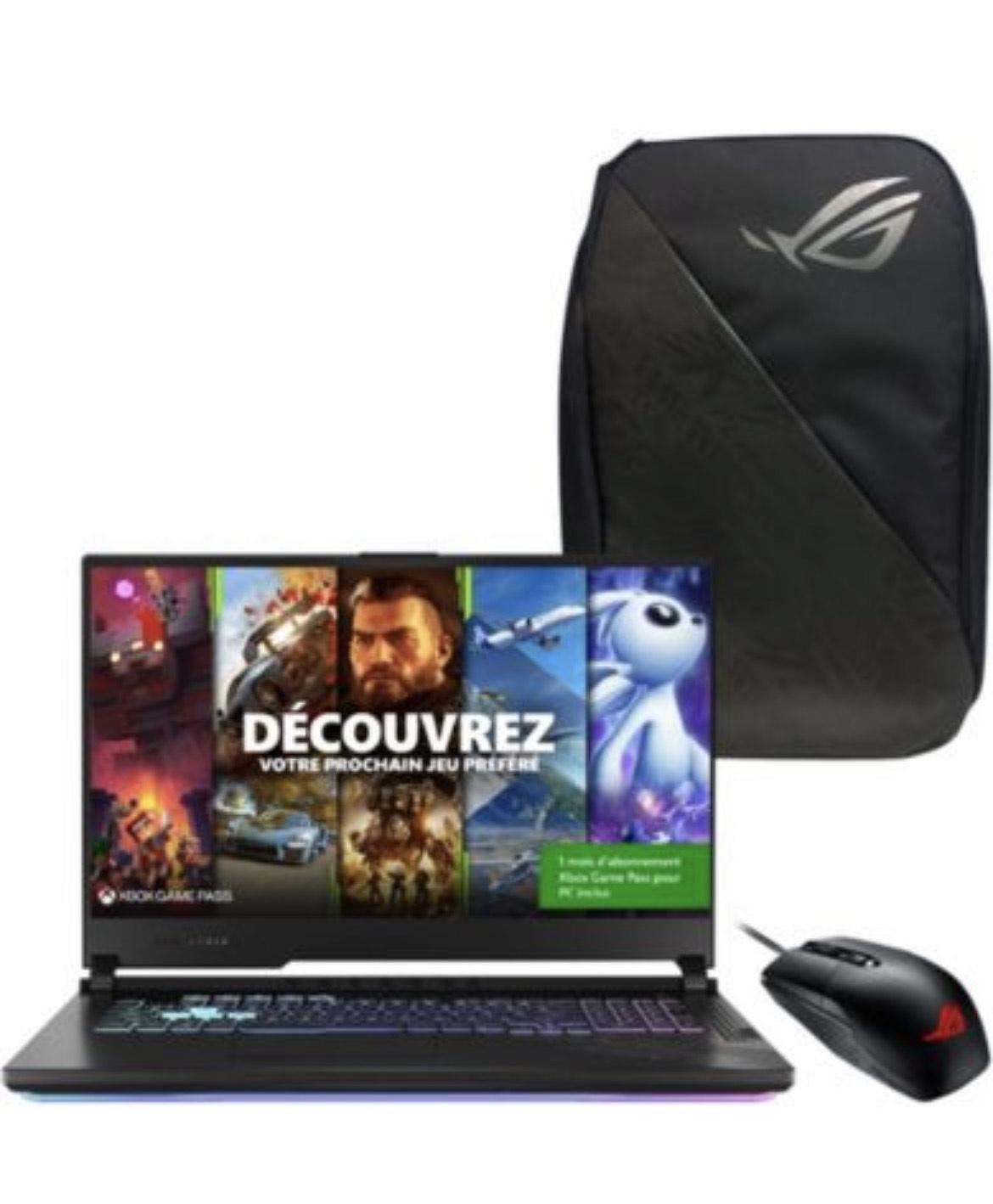 """PC Portable 17.3"""" Asus Strix G17 G712LV-H7061T - 120Hz, i7-10750H, 1 To SSD, 16 Go de RAM, RTX 2060 (6 Go) + Sac à dos + Souris"""