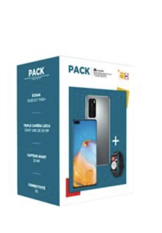 """Pack Smartphone 6.1"""" Huawei P40 - Double SIM, 128 Go 5G Gris + Montre connectée Huawei Watch Fit Noir"""