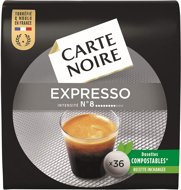 10 pack de 36 dosettes de café Carte Noire Café Espresso Classique N°8 - 360 dosettes compatibles Senseo