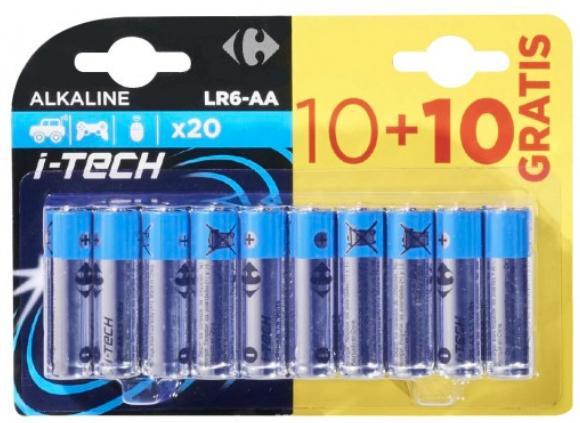 Lot de 20 piles Carrefour LR6 - AA