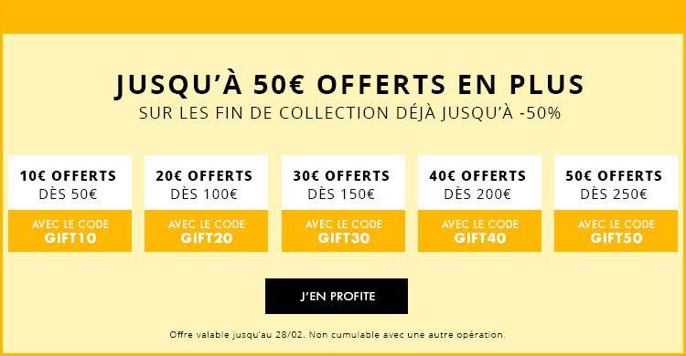 10€  de réduction par tranche de 50€ sur les fins de collections