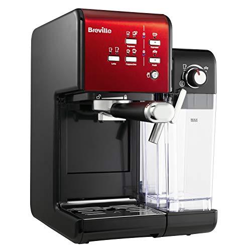 Machine à café espresso, latte et cappuccino Breville Prima Latte II VCF109X - Pompe professionnelle 19 bars, Mousseur à lait - Rouge