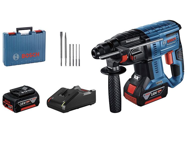 Perforateur Bosch Professional GBH 18V-21 + 2 batteries 5 Ah + Chargeur GAL 18V-40 + lot forêts (Malette)