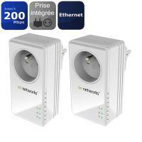 Pack de 2 Adaptateurs CPL On Networks PL200P-199FRS 200 Mbps avec prise filtre intégrée