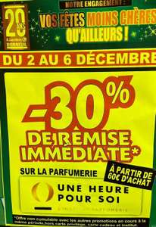 30% de remise immédiate à partir de 60€ sur la parfumerie (Provins 77)