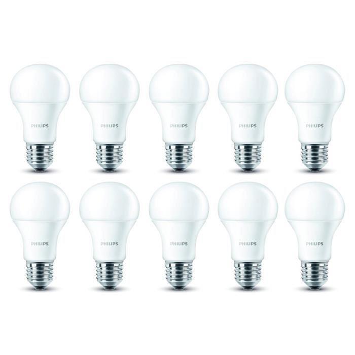 Lot de 10 ampoules Philips EDF - Led, E27, 9W