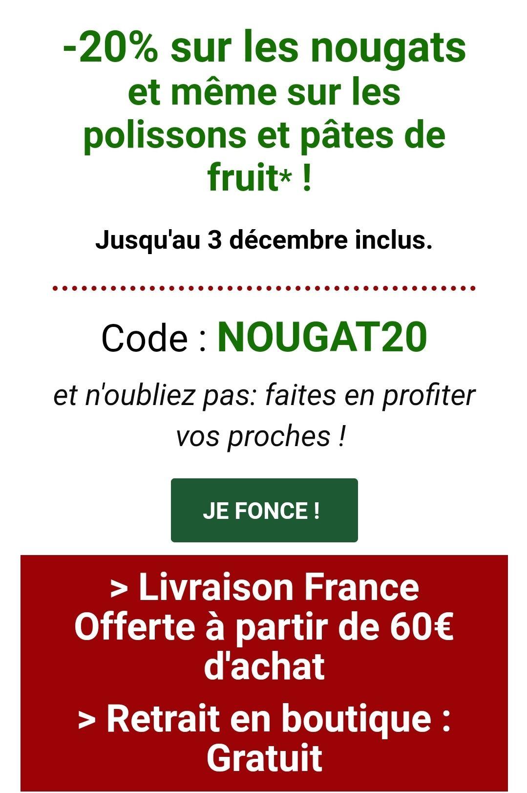 20% de remise sur les Nougats, Polissons et Pâtes de fruit (nougats-silvain.fr)