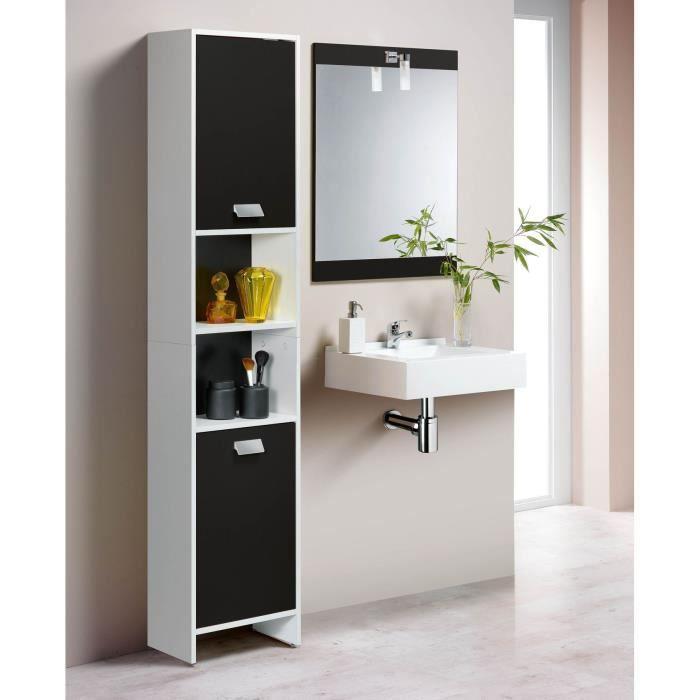 Colonne de salle de bain Top - L 40 cm, Blanc et noir mat
