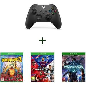 Pack Manette sans fil Xbox Series S/X & PC Carbon Black + 3 jeux Xbox One (Borderlands 3, Crackdown 3, PES 2020)
