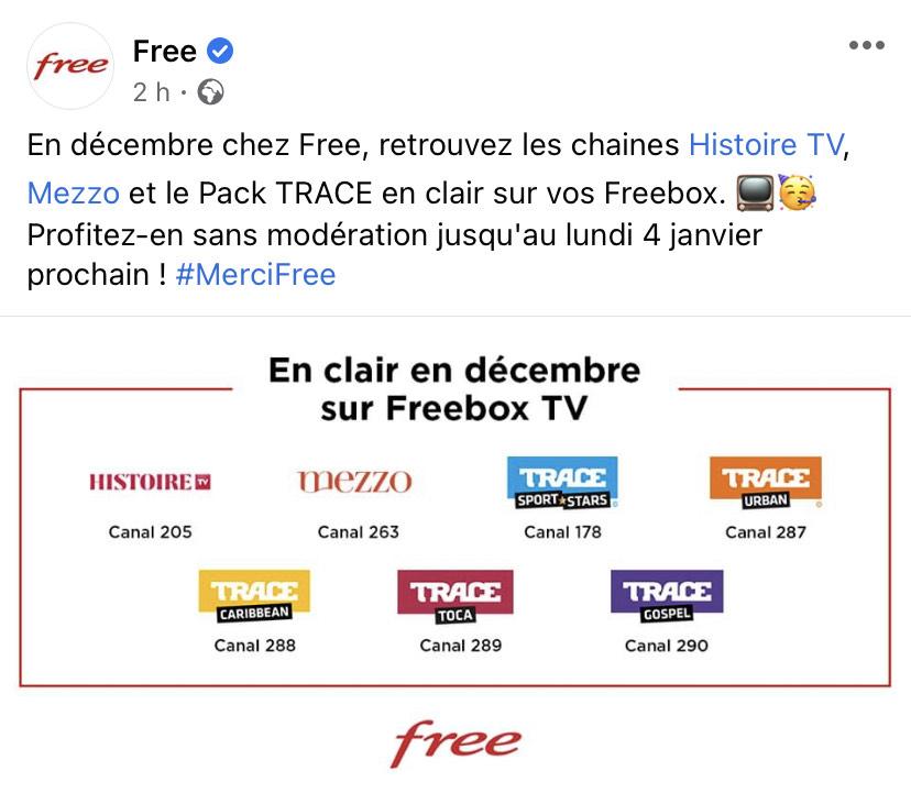 [Abonnés Freebox] Chaines Histoire TV, Mezzo et le Pack Trace en clair jusqu'au 4 Janvier