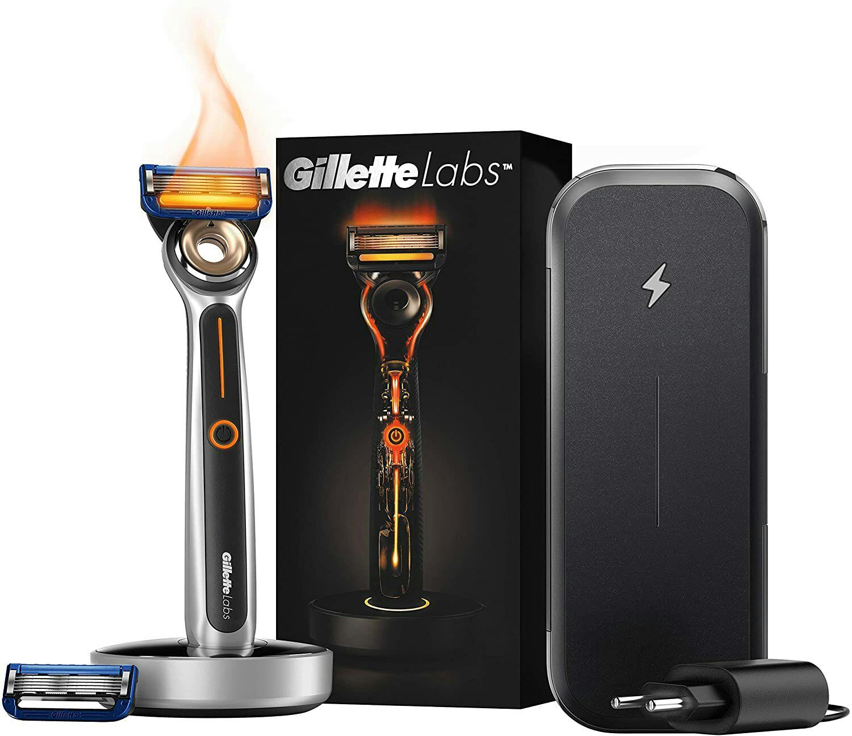 Rasoir Chauffant Gillette Labs Etanche Homme + 2 Lames + Socle Magnétique Sans Fil + Étui de Voyage Lames de Rechargeable