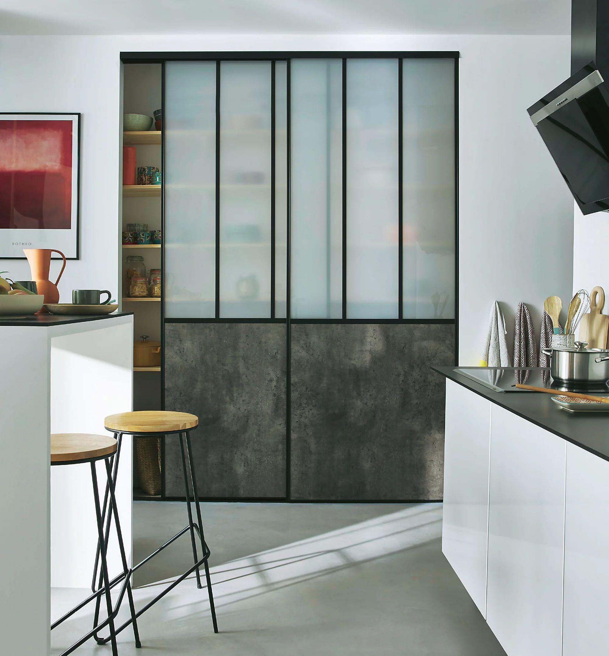 2 portes de placard coulissantes Vulcano décor gris béton - 180 x 245 cm