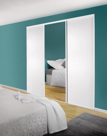3 portes coulissantes avec miroir - profils & rails inclus (250x180 cm)