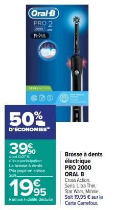 Brosse à dents électrique rechargeable Braun Oral-B Pro 2 2000 (via 19.95€ sur la carte de fidélité)