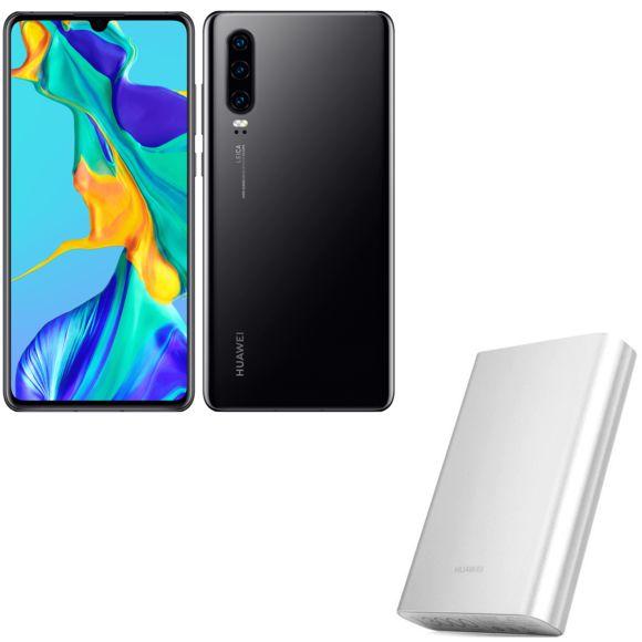 Smartphone Huawei P30 - 128Go, 6Go de Ram, Noir + Powerbank AP007 - Argent - 13000 mAh