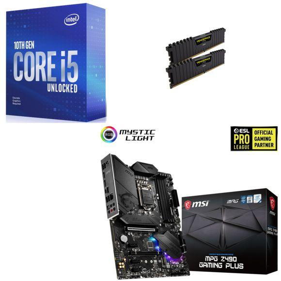 Kit Évo : Processeur Intel i5-10600KF + Carte mère MSI MPG Z490 Gaming Plus + RAM Corsair Vengeance LPX 16 Go + AC Valhalla (Via ODR de 20€)