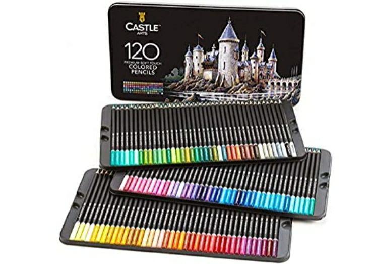 Boite de crayons de couleur d'artiste Castle Arts - 120 pièces (Vendeur tiers)