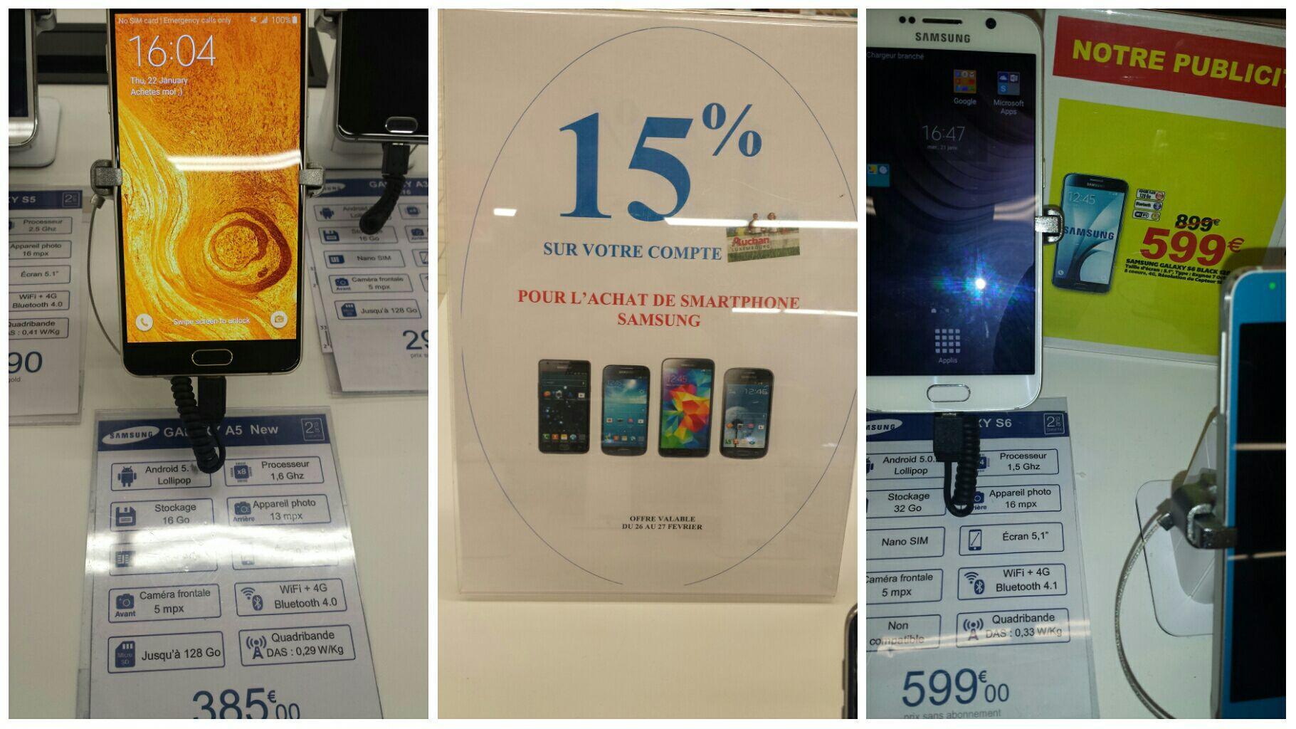 15% crédités sur votre carte pour l'achat d'un Smartphone Samsung