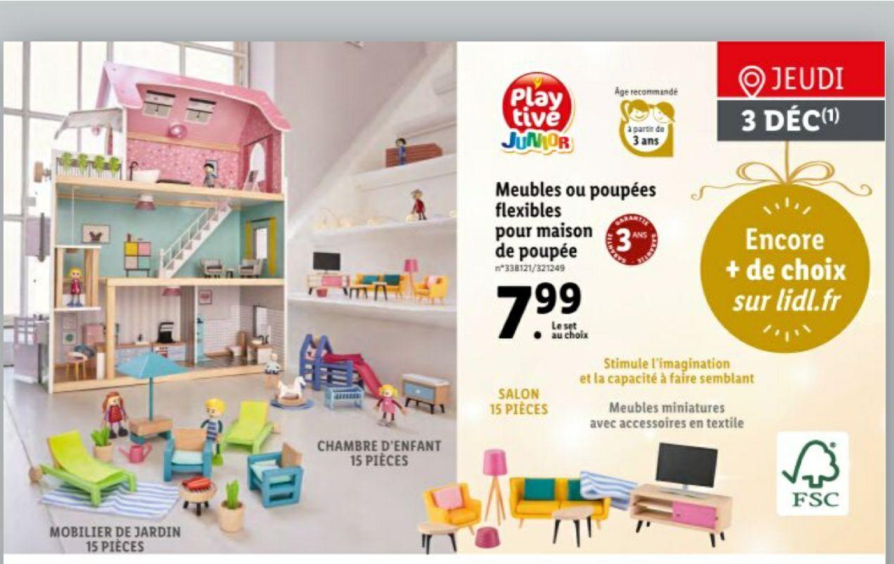 Meuble ou poupées flexibles pour maison de poupées