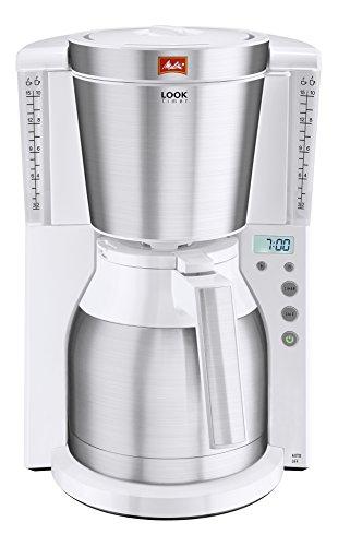 Cafetière à filtre avec verseuse isotherme Melitta Look Therm Timer 1011-15 - 1.2 L, coloris acier blanc