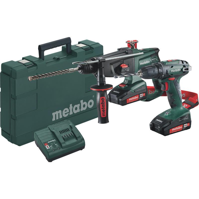 Pack Metabo sans fil 2.3.2 18V - Perforateur KHA 18 LTX (2.2J) + Perceuse visseuse BS 18 (48Nm) + 2 batteries 2.0Ah + Chargeur + Mallette