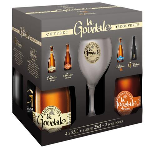 Coffret de 4 bières Goudale + 1 verre + 2 sous bocks