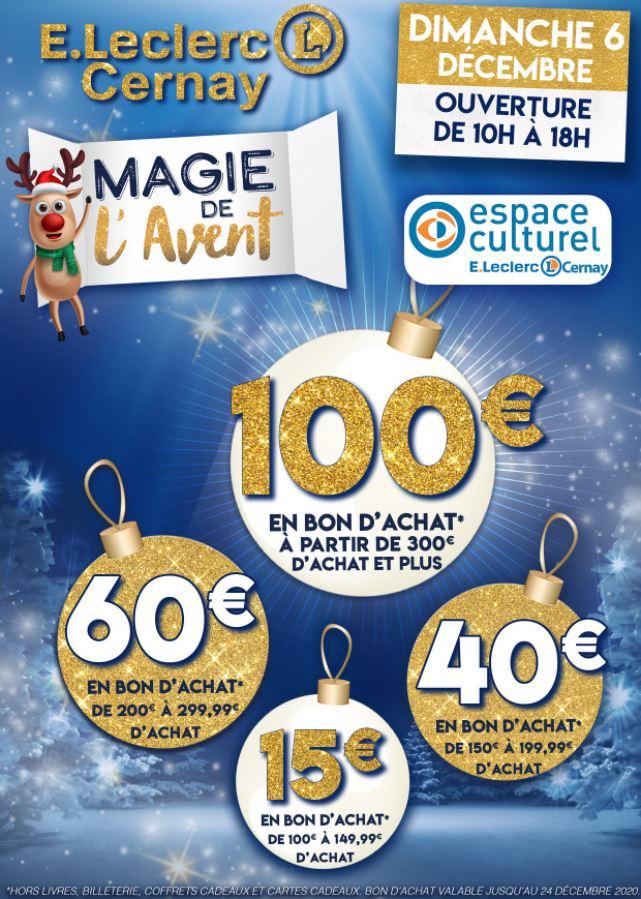 Jusqu'à 100€ offerts en bon d'achat - Ex : 15€ dès 100€ d'achat, 40€ dès 150, 100€ à partir de 300€ - Cernay (68)