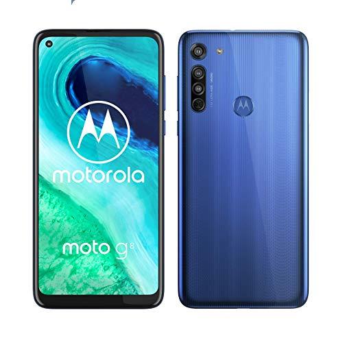 "Smartphone 6.4"" Motorola Moto G8 - HD+, SnapDragon 665, 4 Go de RAM, 64 Go, Bleu + Casque audio Motorola Escape 220"