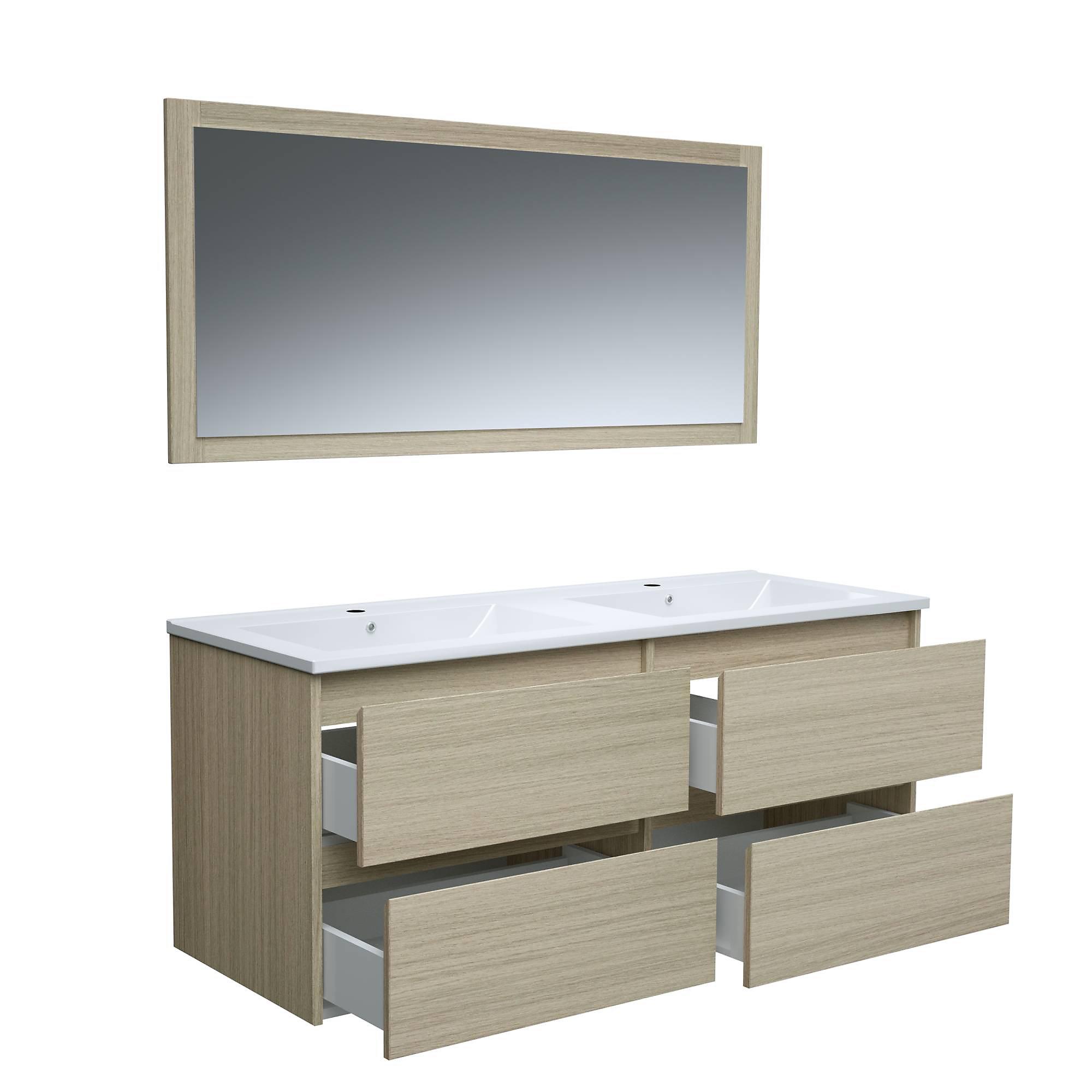 Ensemble Timber (3 pièces) - Meuble sous vasque à suspendre + plan double vasque céramique + miroir