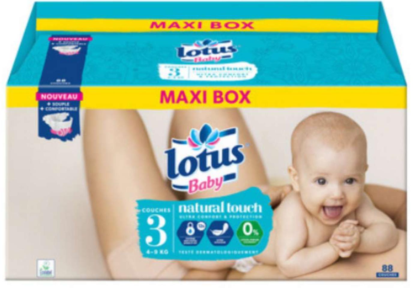 Paquet de couches Lotus Baby Natural Touch Maxi Box - différentes quantités et tailles (via 16.79€ sur la carte de fidélité)