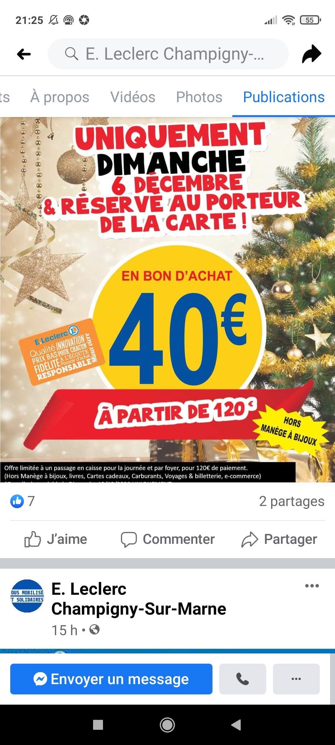 [Porteurs carte fidélité] 40€ en bon d'achat dès 120€ d'achat sur l'ensemble du magasin (Hors exceptions) - Champigny (94)