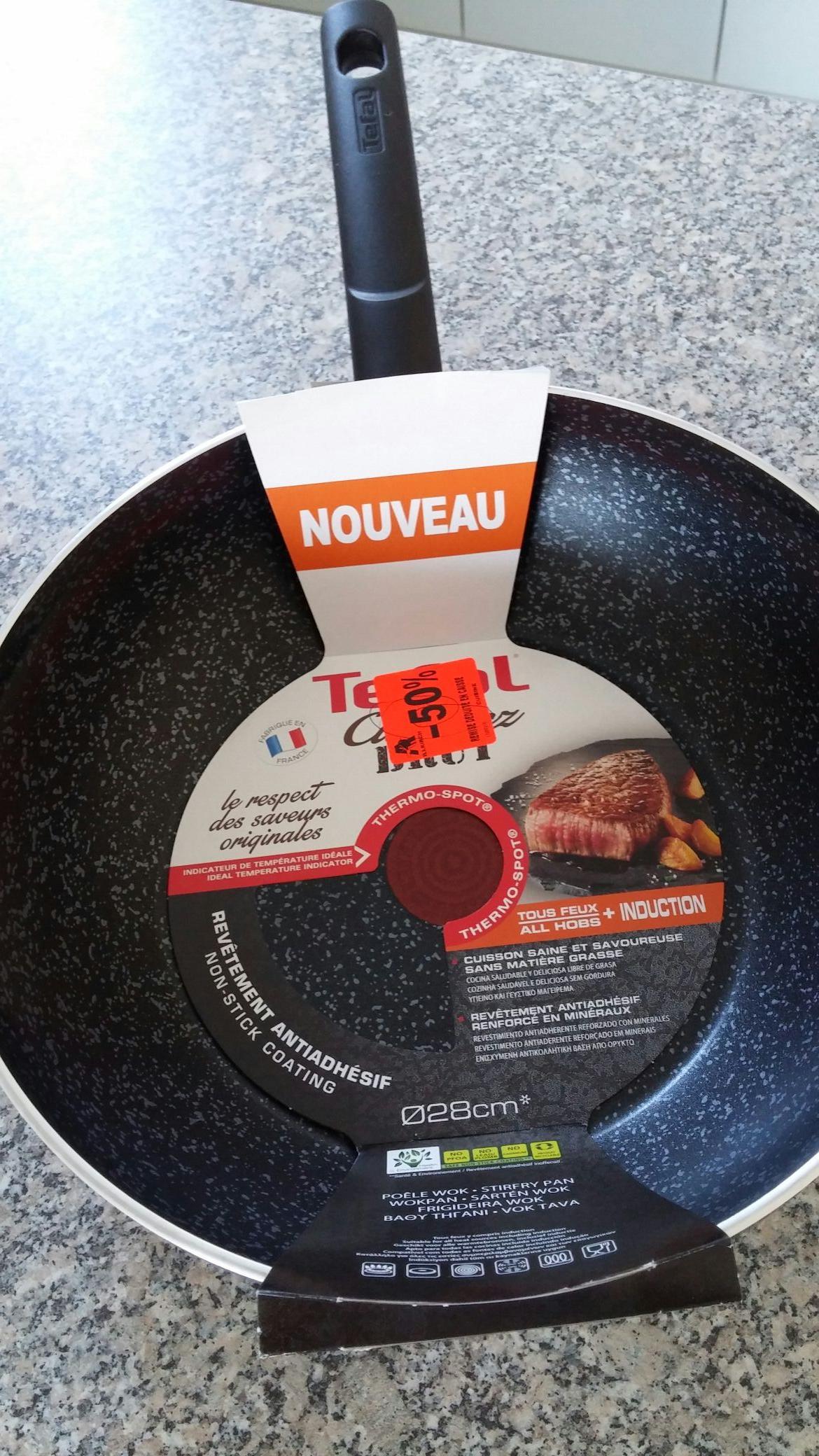 Sélection de poêles Tefal (tous feux dont induction) en promotion - Ex : Wok Tefal Cuisinez brut 28cm