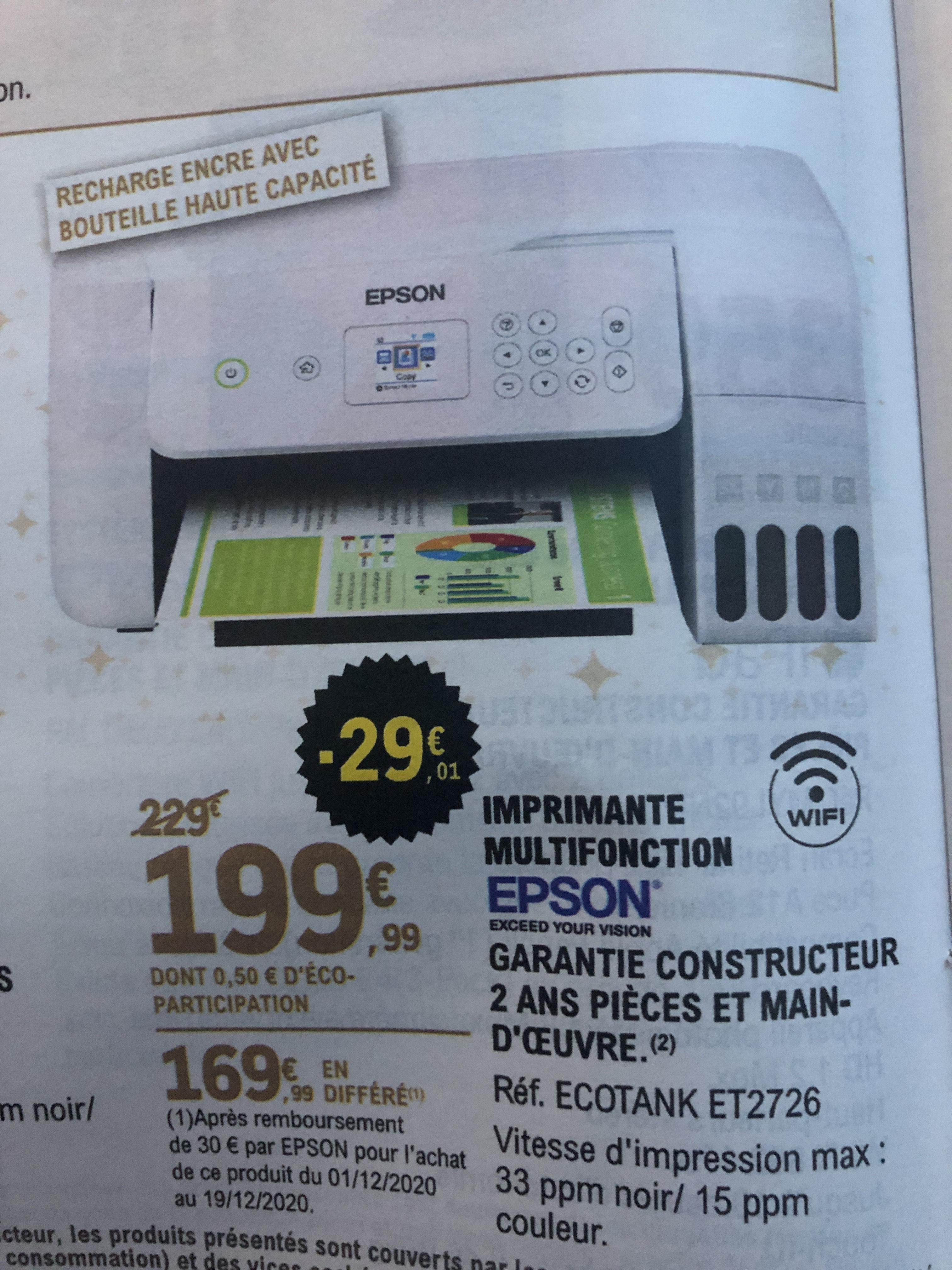 Imprimante multifonction Epson Ecotank ET-2726 (Via ODR 30€)