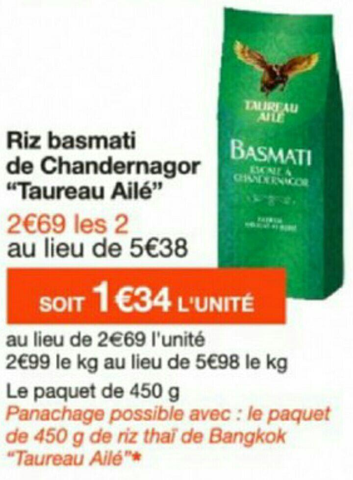 [Carte Monoprix] 2 paquets de riz Taureau Ailé 450g (via Quoty + Prixing + BDR)