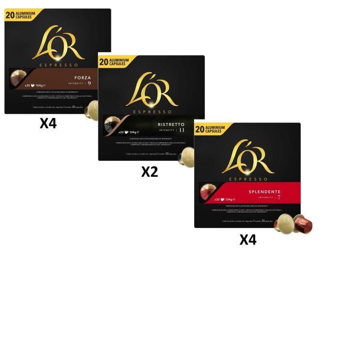 200 capsules de Café L'Or Espresso - 3 Variétés (Forza, Spendente, Ristretto)