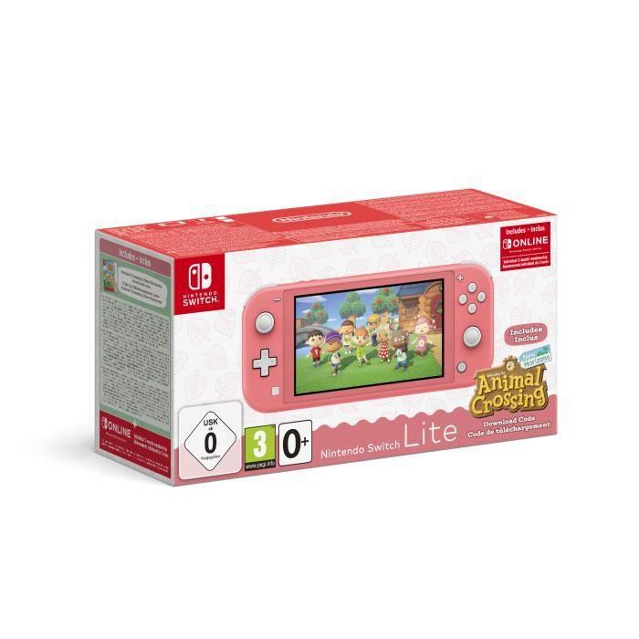 Console Nintendo Switch Lite Corail + Animal Crossing New Horizons + Abonnement 3 mois