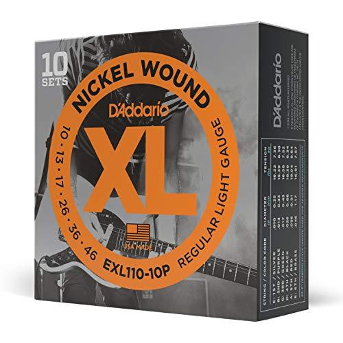 10 jeux de Cordes en nickel pour guitare électrique D'Addario exl110-10p - Regular Light 10-46