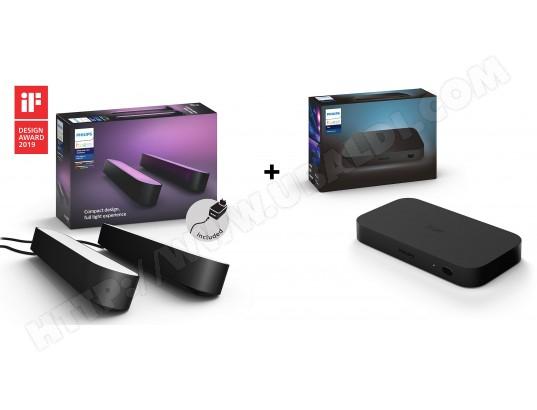 Kit Smart TV: Philips Hue Play HDMI Sync Box + Pack de 2 Lumières d'ambiance Philips Hue Play (Noir)