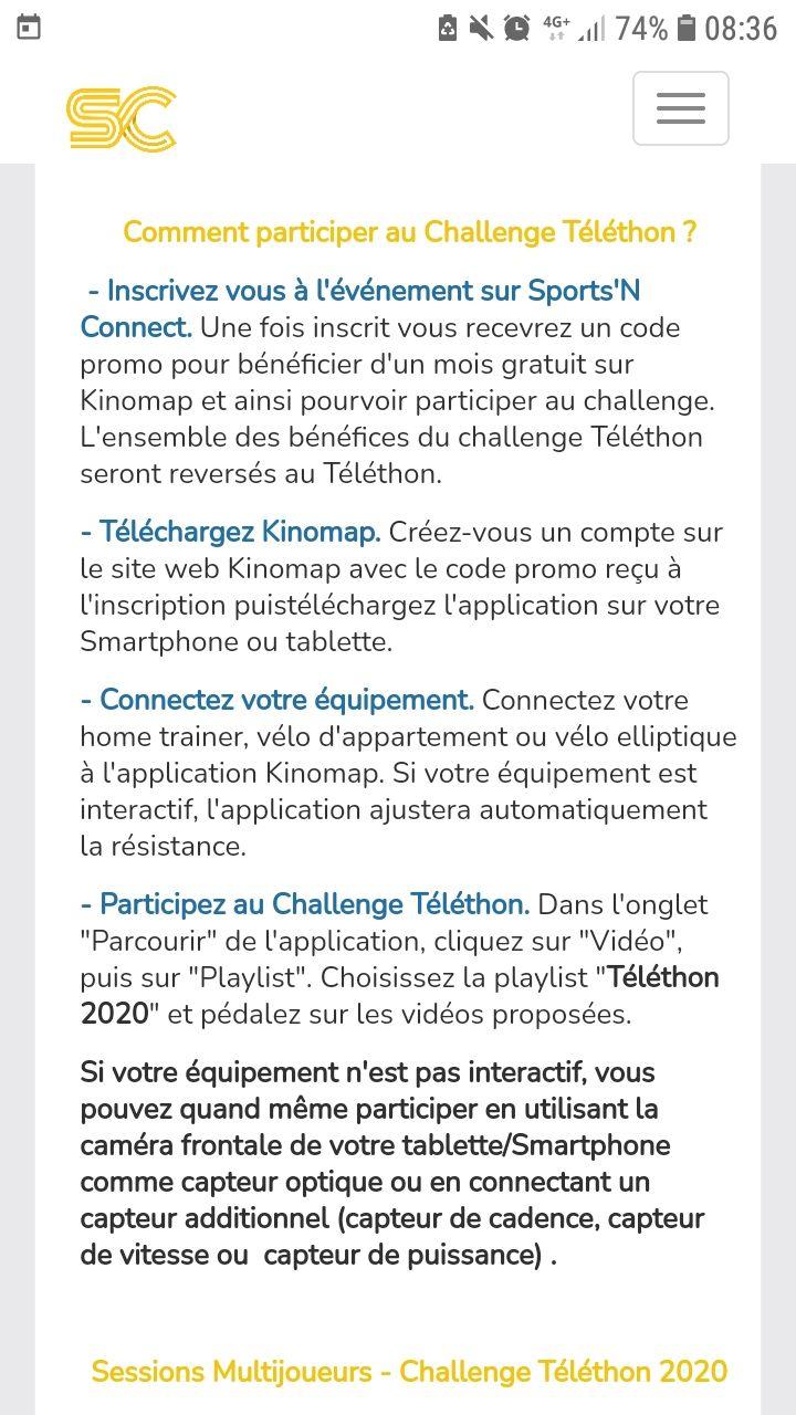 Abonnement d'un mois gratuit au service Kinomap (dématérialisé) - Kinomap.com ( Inscription de 5€ reversés au telethon)