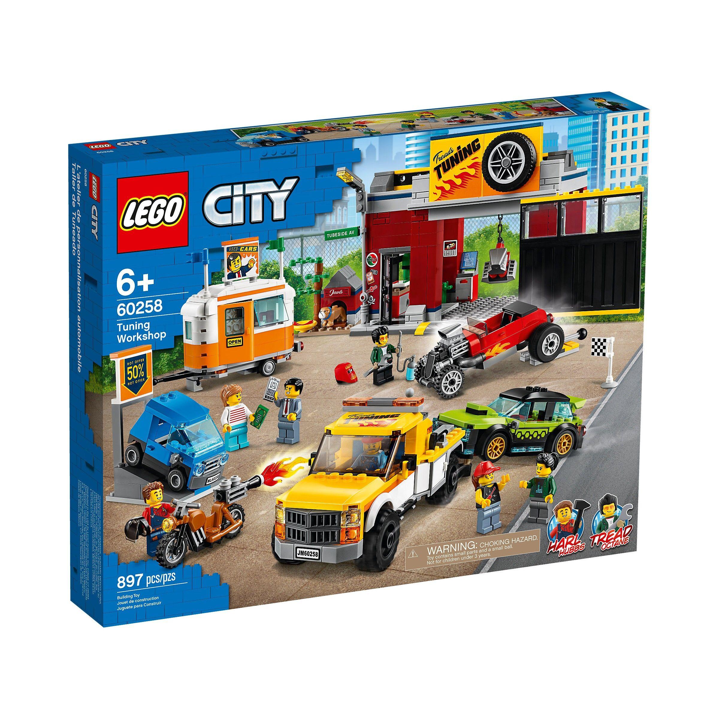 LEGO City 60258   Lego City Turbo Wheels, L'atelier de tuning, Set de construction avec depanneuse, Hot Rod moto, 897 pièces,