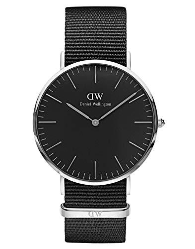 Montre Daniel Wellington Classic Cornwall, Noir/Argent, 40mm, NATO pour Hommes