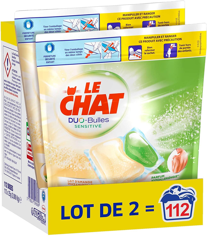 Lot de 112 Capsules Lessive Le Chat Sensitive Duo-Bulles
