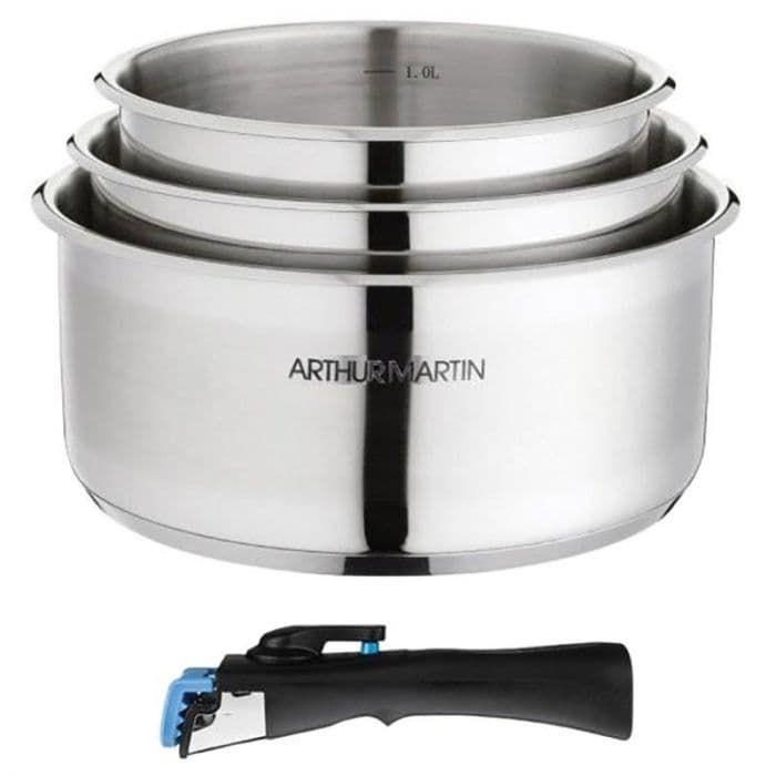 Set de 3 casseroles ARTHUR MARTIN - Inox, amovibles