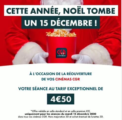 Place de cinéma CGR à 4,50€