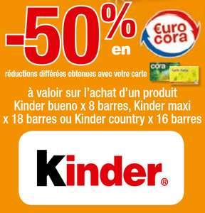 -50% en Eurocoras sur les Kinder Bueno / Country
