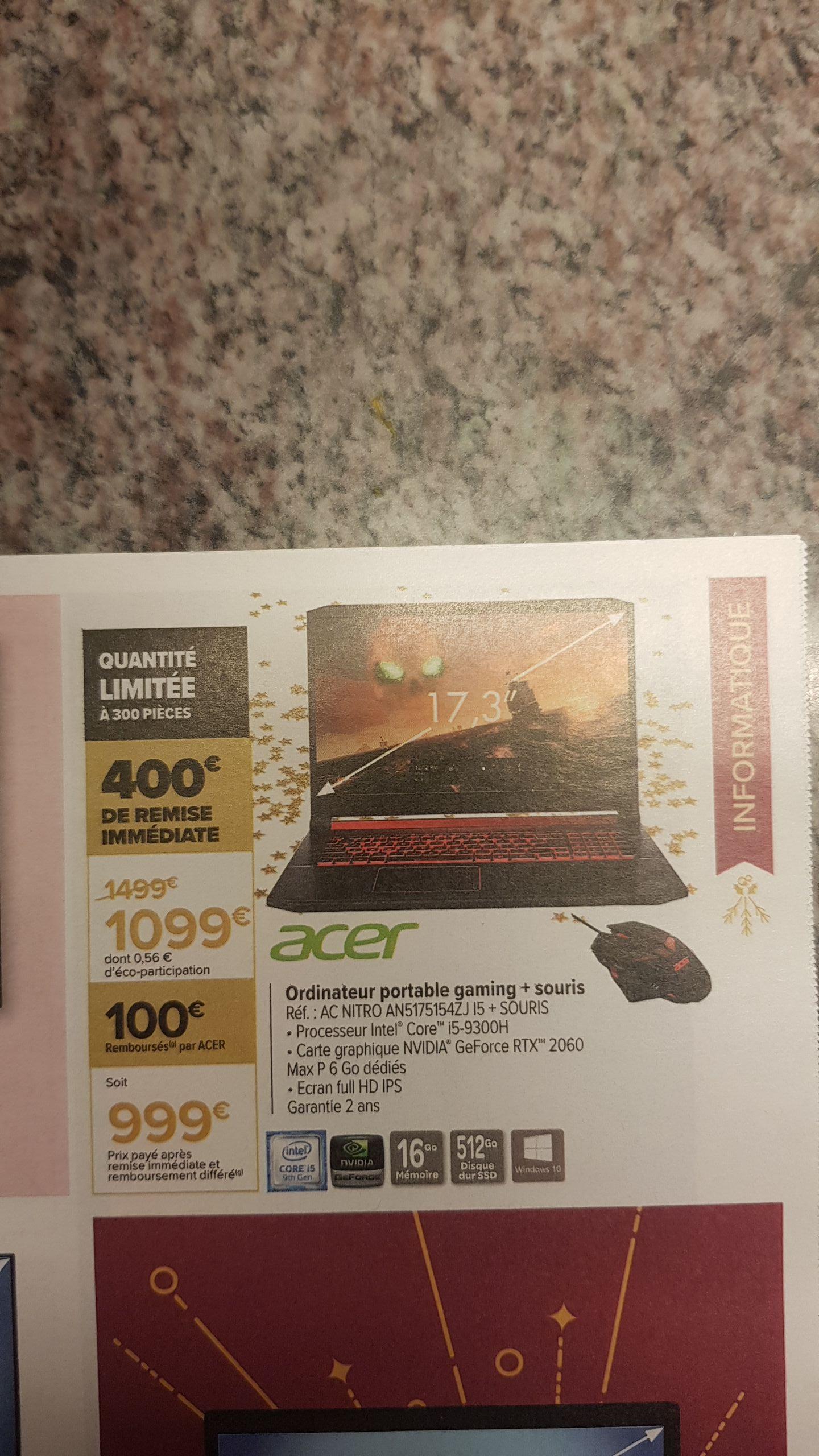 PC Portable gaming Acer AN5175154ZJ + Souris