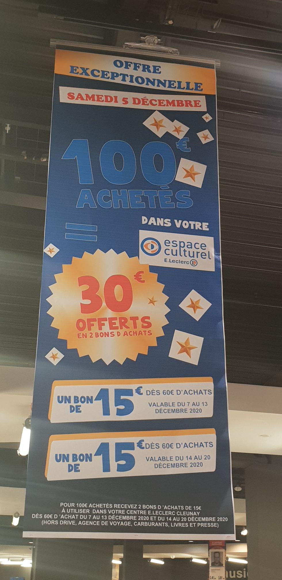 30€ crédité dès 100€ d'achat - Cleunay-Rennes (35)