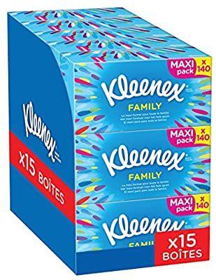 Lot de 15 boîtes de mouchoirs Kleenex Family