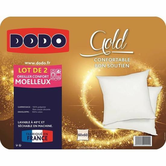 Lot de 2 oreillers Dodo Gold 60 x 60 cm blanc